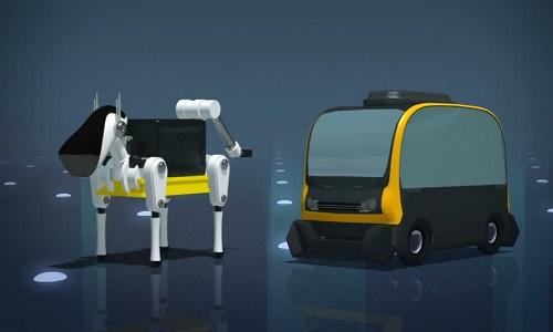 Chó robot cưỡi xe tự lái giao hàng tận cửa