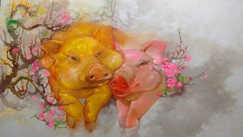 Painting exhibition, Year of the Pig, contemporary painters, zodiac sign,  art-lovers, big paintings