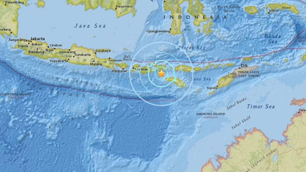 Lại xảy ra động đất mạnh làm rung chuyển TP Raba, Indonesia