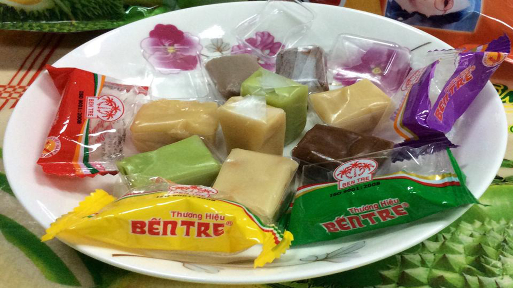 Candied coconut ribbons, favoured delicacy, during Tet, most Vietnamese people,  food and confectionaries, Ben Tre province