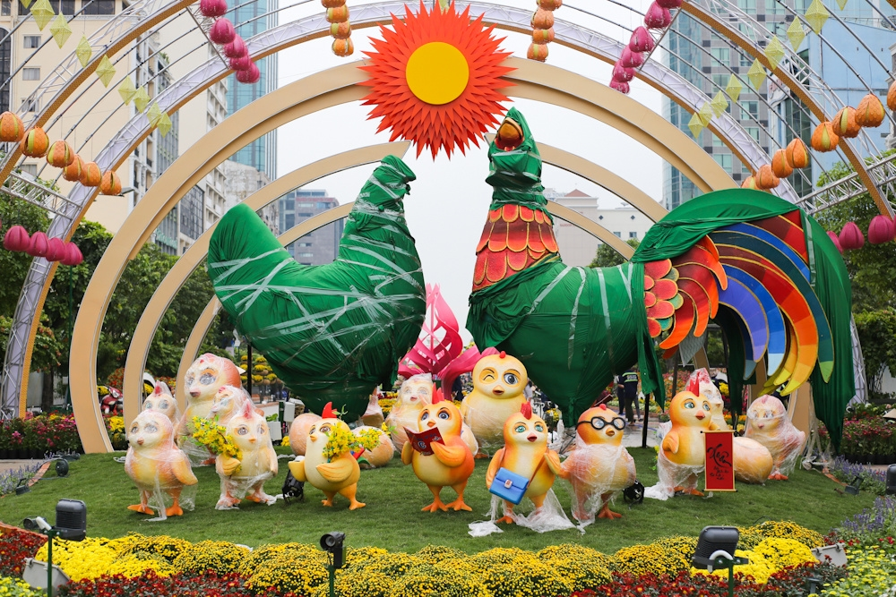 Zodiac animals, Saigon's flower market, Nguyen Hue Street, floral paradise,  giant images of the animal, Lunar New Year