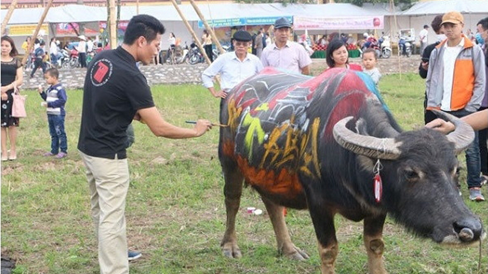 Painting contest, buffaloes, ploughing festival, Ha Nam province,  buffalo painting contest, Lunar New Year, traditional festival