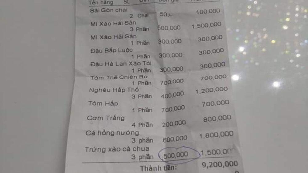 """""""Chém"""" đĩa trứng xào cà chua 500.000 đồng: Công an vào cuộc"""