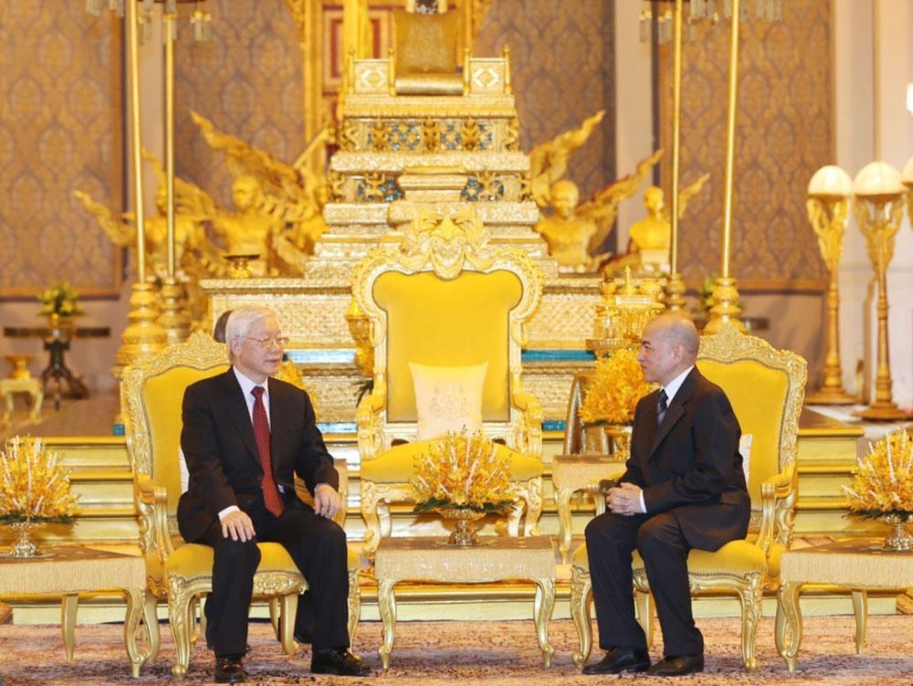 Tổng Bí thư, Chủ tịch nước Nguyễn Phú Trọng, hội đàm, Quốc vương Campuchia Norodom Sihamoni