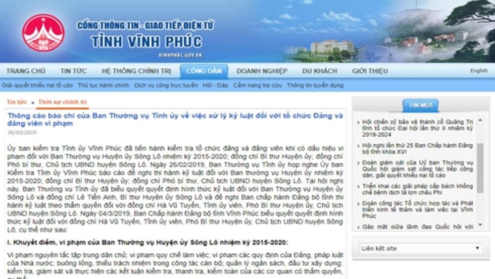 Cảnh cáo Bí thư và Chủ tịch huyện Sông Lô, tỉnh Vĩnh Phúc