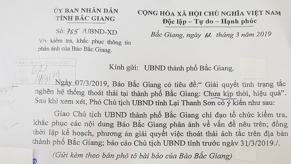 Phó Chủ tịch Thường trực UBND tỉnh Lại Thanh Sơn yêu cầu kiểm tra, khắc phục tình trạng tắc nghẽn hệ thống thoát thải tại TP Bắc Giang
