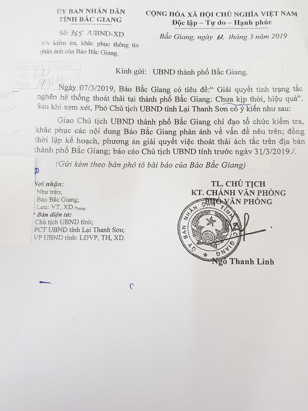 Lại Thanh Sơn, Bắc Giang, tắc nghẽn, hệ thống thoát thải, TP Bắc Giang