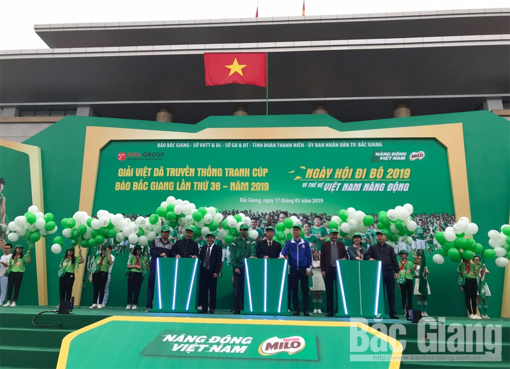 38th Bac Giang Newspaper Run, 2019 Walking Festival, large scale, widely spreading, Bac Giang province, February 3 Square, dynamic Vietnamese generation, large-scale sporting event,  Bac Giang Newspaper, Attractive competitions