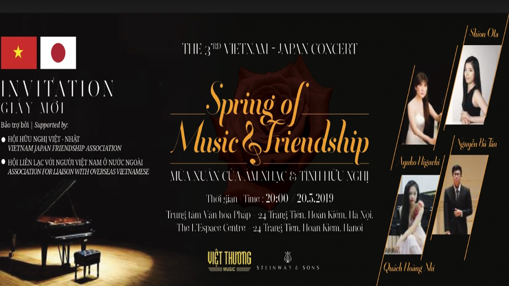 Vietnamese, Japanese artists, Hanoi friendship concert, Friendship Piano Concert, Spring of Music and Friendship