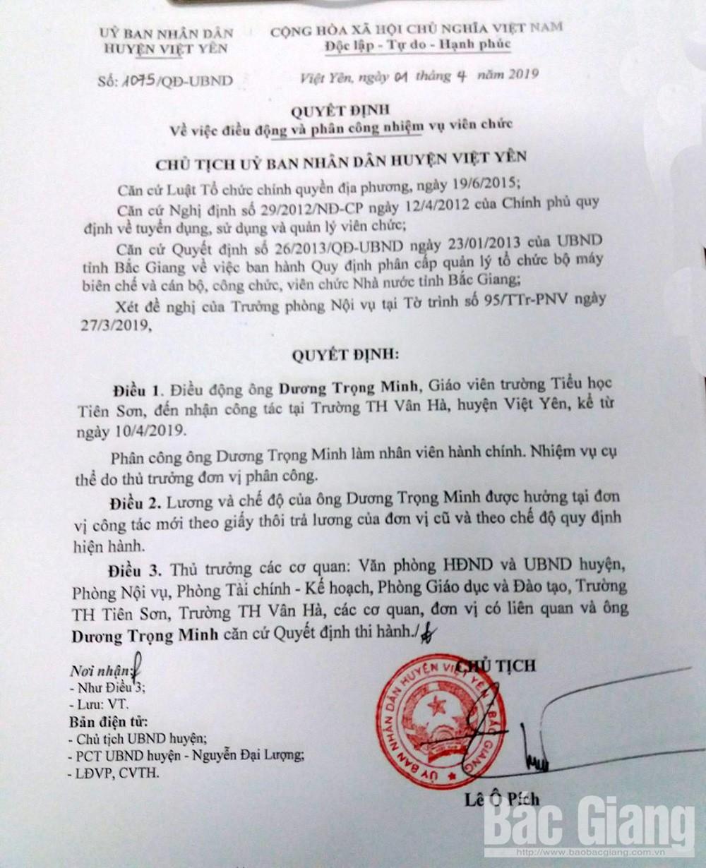 Tiểu học Tiên Sơn, Việt Yên, giáo dục, thầy giáo, xử lý, luân chuyển,