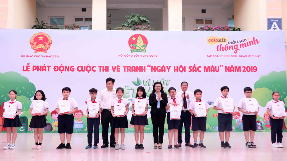 Children's painting contest, environmental protection, Trung Yen Primary School, For a green Vietnam, contestants and winning entries