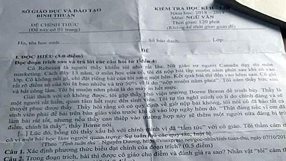 Hàng ngàn học sinh hoãn thi vì lộ đề, Sở Giáo dục và Đào tạo Bình Thuận xin lỗi
