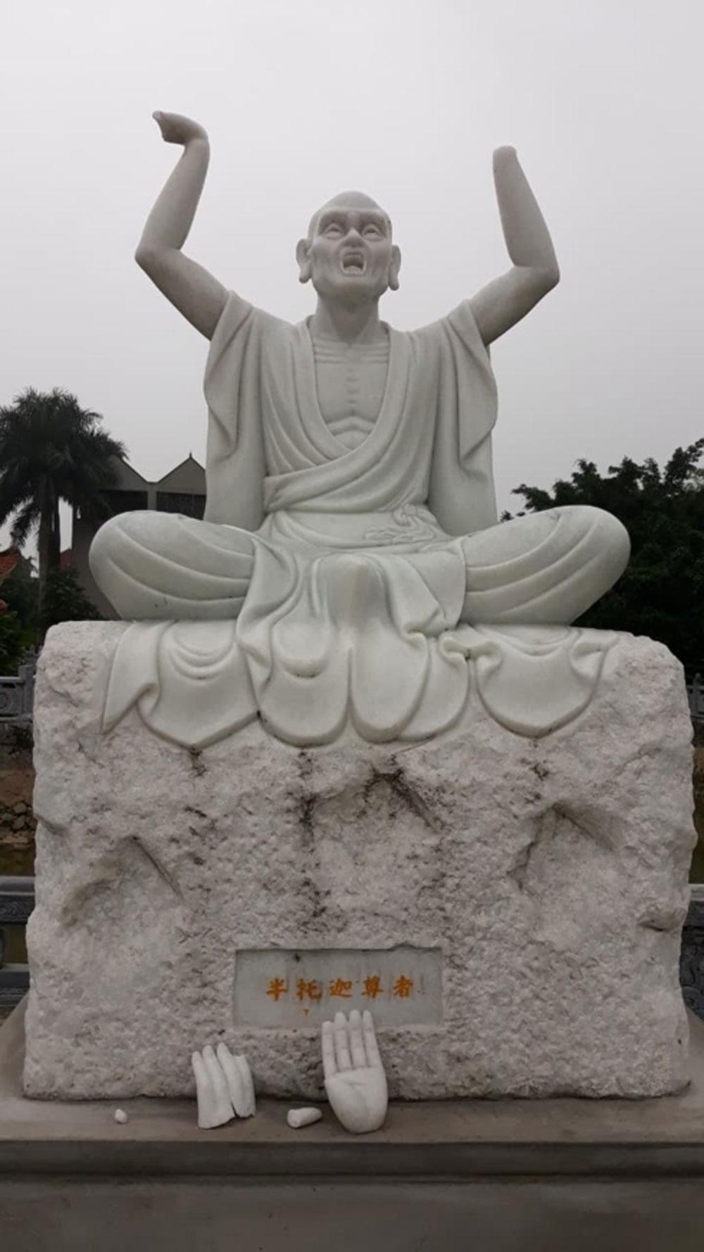 Vụ bẻ tay tượng phật, Camera ghi được hình ảnh, công an vào cuộc, bẻ tay tượng phật ở chùa Khánh Long
