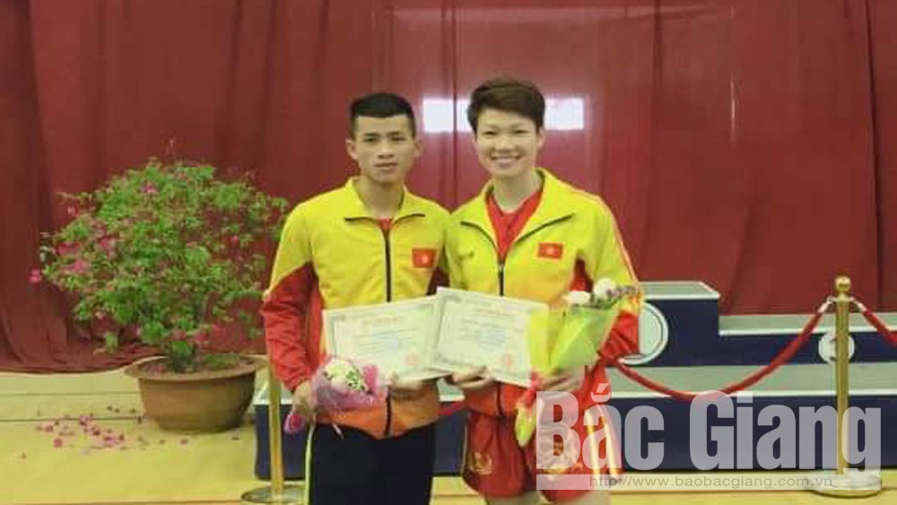 Bac Giang athlete, gold medal, national wushu championship, Bac Giang province, wushu team,  different weight groups, Nguyen Thi Thu Thuy, Bui Minh Hoang