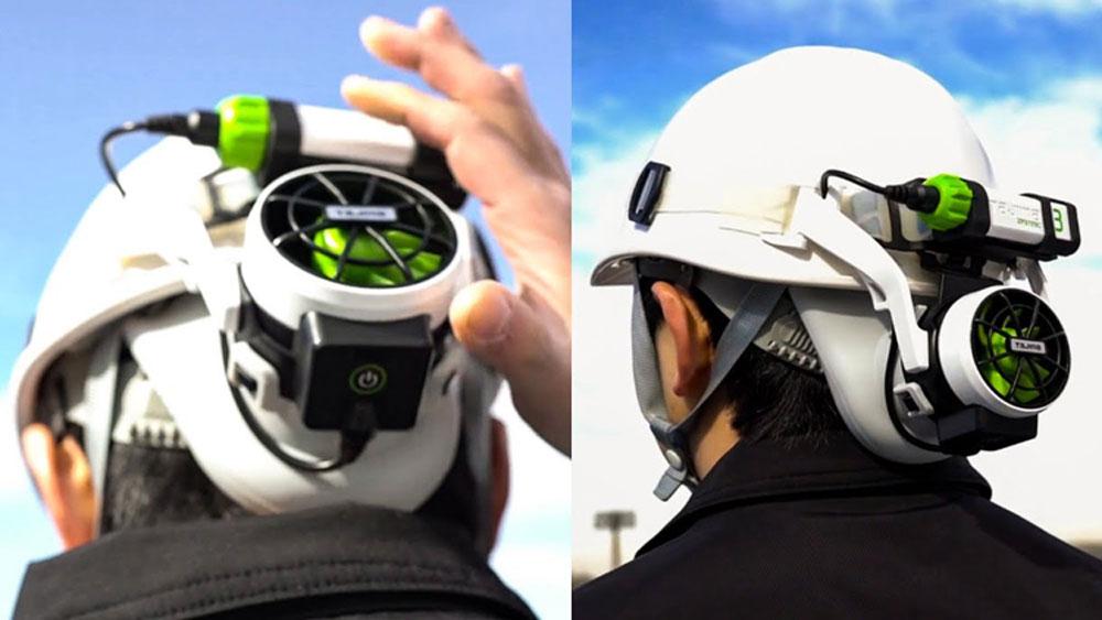 Quạt mini gắn vào mũ bảo hiểm để tạo gió mát