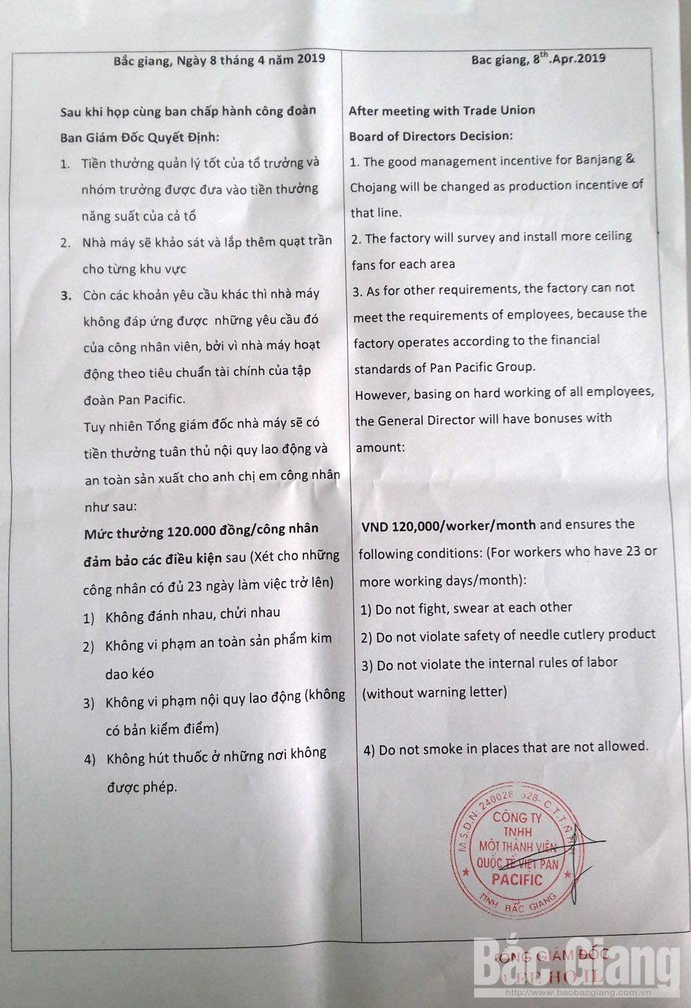 công nhân, đình công, TP Bắc Giang