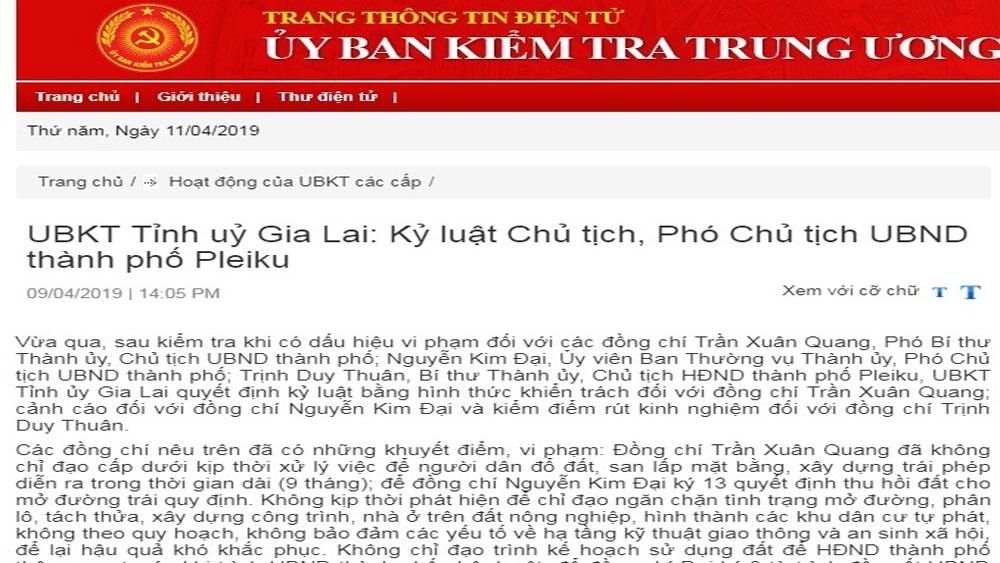 Kỷ luật Chủ tịch, Phó Chủ tịch UBND TP Pleiku