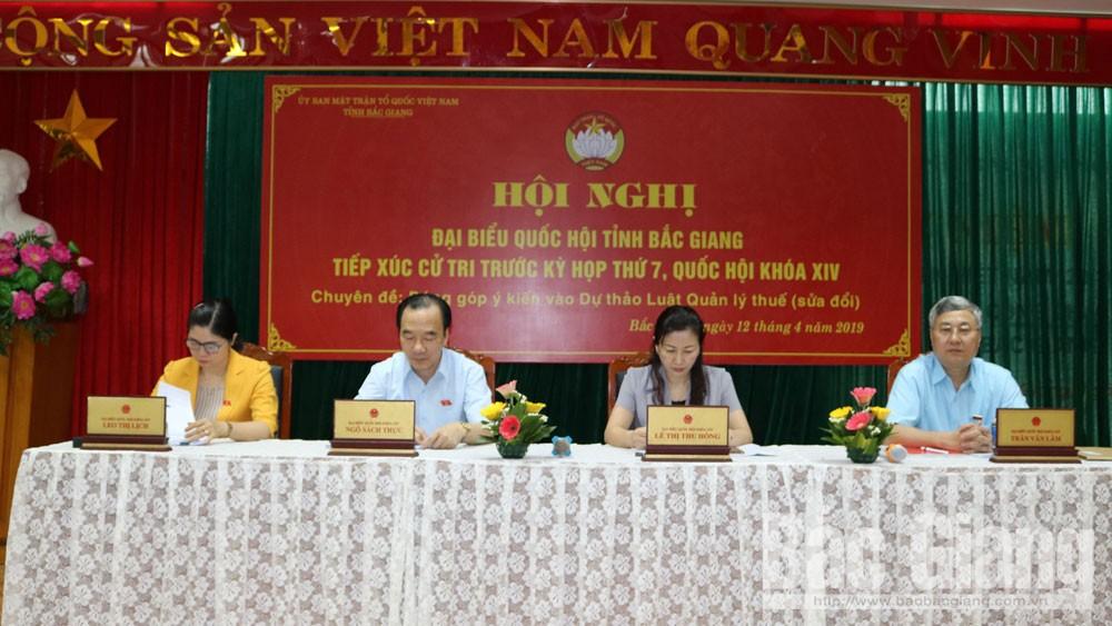 Đoàn ĐBQH, Bắc Giang, cử tri, dự thảo, Luật Quản lý thuế (sửa đổi)