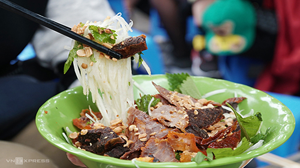 Try dried beef salad in downtown Hanoi