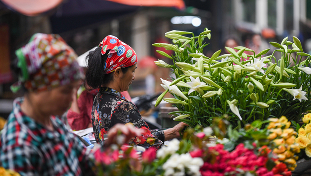Tháng Tư, hoa loa kèn, huệ tây, màu trắng mong manh,