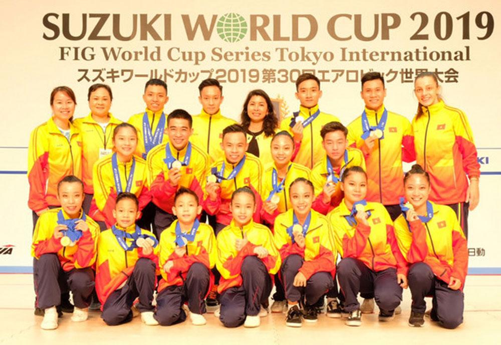 Vietnam, gold medals, Aerobic Suzuki World Cup, Tokyo, Vietnam's aerobic team,  young players, final competition