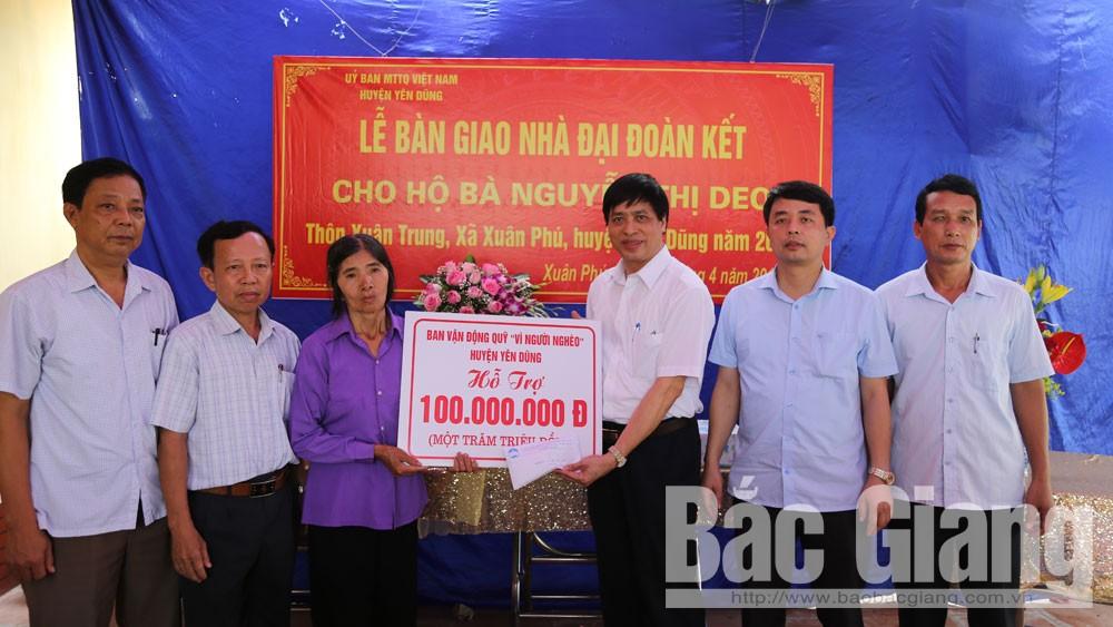 Huyện Yên Dũng, Hỗ trợi gia đình khó khăn, Hỗ trợ xây dựng nhà đoàn kết