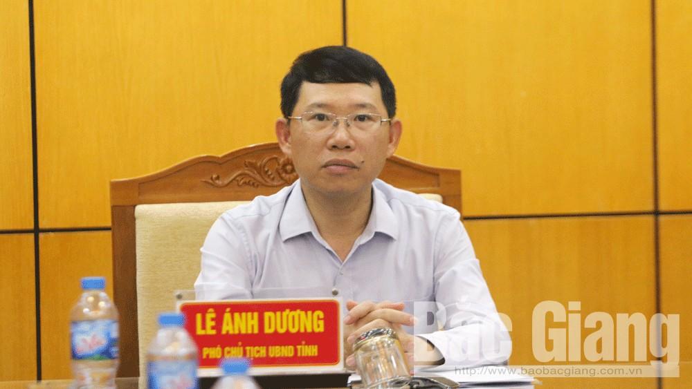 Phó Chủ tịch UBND tỉnh Lê Ánh Dương chủ trì tại điểm cầu Bắc Giang.