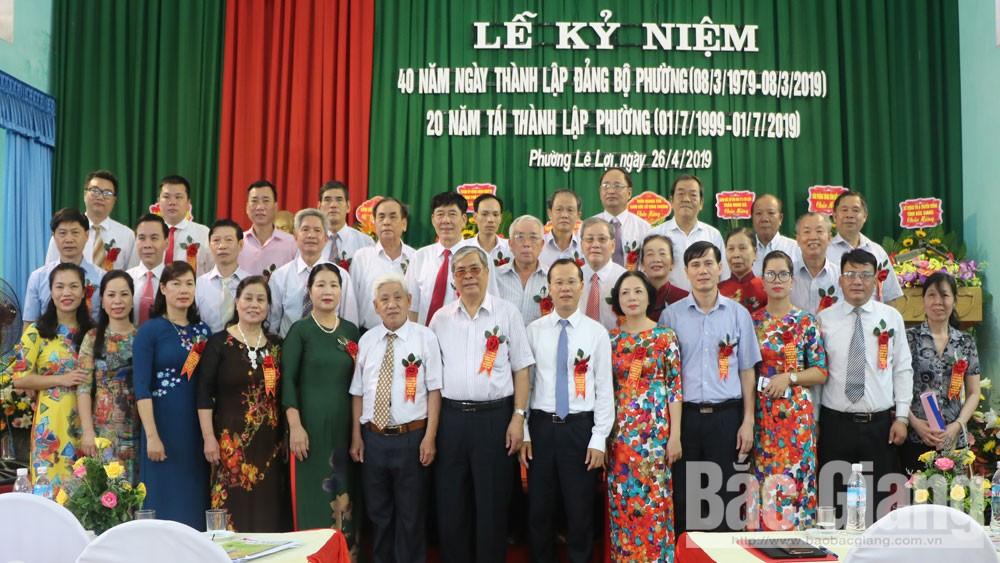 Lễ kỷ niệm, 40 năm, ngày thành lập, đảng bộ và 20 năm tái thành lập phường Lê Lợi