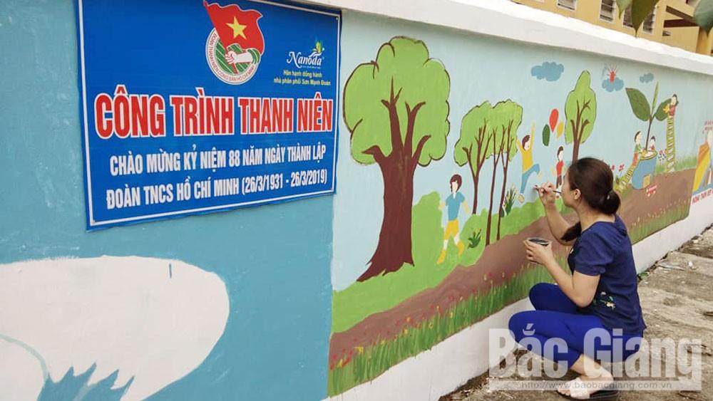 """Bắc Giang, tranh tường, đường quê , """"Tranh tường bích họa"""" , """"Con đường bích họa"""", Tỉnh đoàn Bắc Giang"""
