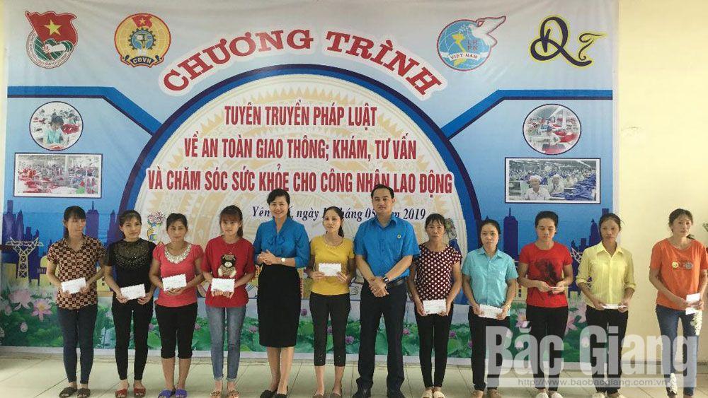 Tư vấn, pháp luật, giao thông,  chăm sóc, sức khỏe sinh sản, tỉnh Bắc Giang