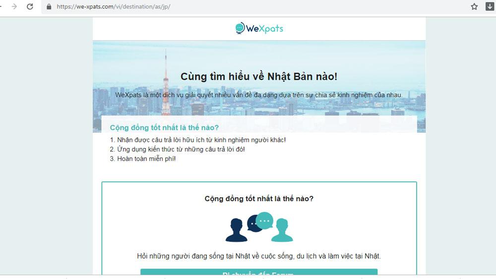Ra mắt website tiếng Việt, trao đổi kinh nghiệm, du học, làm việc tại Nhật Bản