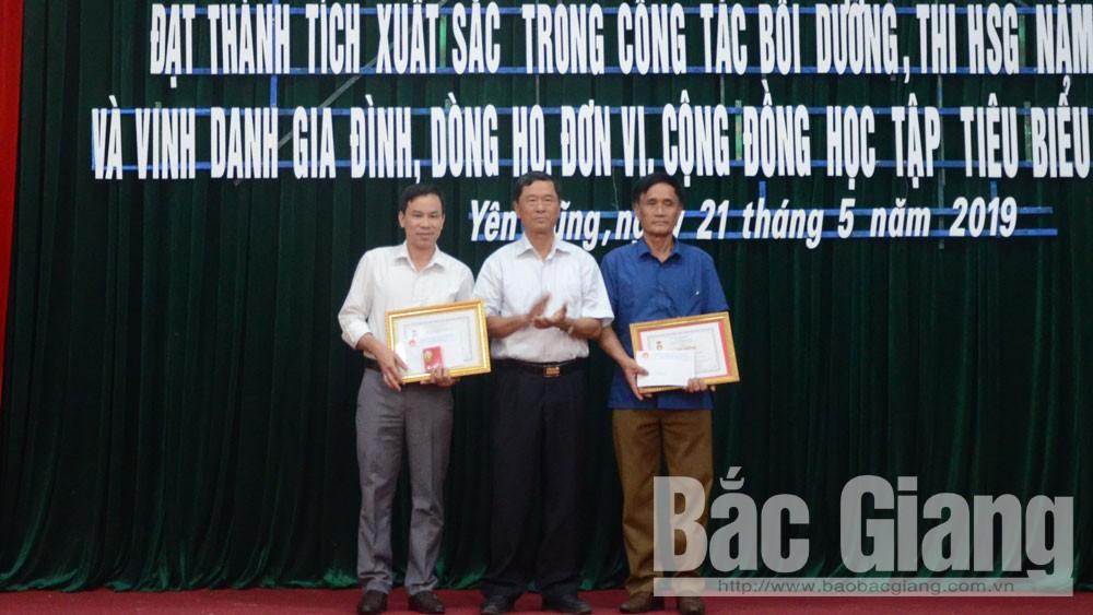 Yên Dũng, tuyên dương, giáo viên, học sinh, khuyến học, Bắc Giang, học sinh giỏi, gia đình, dòng họ
