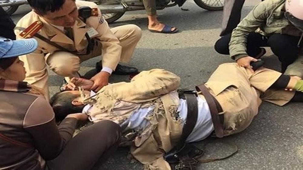 Đâm xe vào cảnh sát giao thông, Công an thành phố Bắc Giang, Vi phạm giao thông, Cảnh sát giao thông bị thương, Cao tốc Hà Nội- Bắc Giang