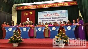 Phụ nữ Tân Yên thi tìm hiểu kiến thức bảo vệ môi trường