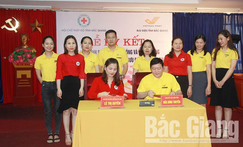 Bắc Giang, nhân đạo, thùng quỹ, Bưu điện, bưu chính, ký kết, thỏa thuận, người nghèo, hiến máu, tình nguyện