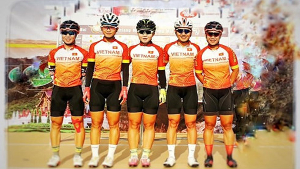 Vietnamese cyclist, Nguyen Thi Thu Mai, second stage, Tour of Zhoushan Island II, six-strong cycling team