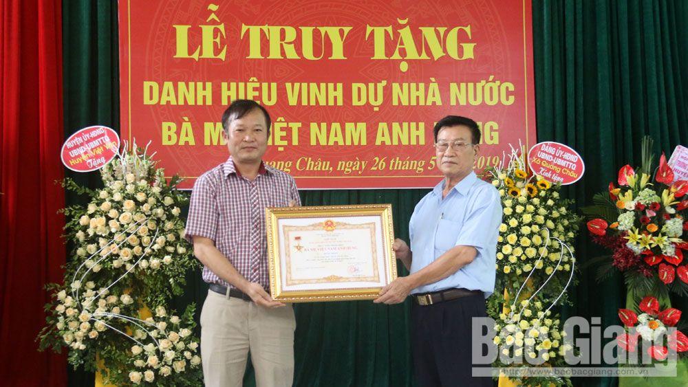 Việt yên, xã hội, mẹ việt nam anh hùng, truy tặng