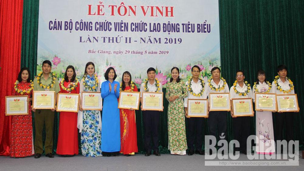 tôn vinh, cán bộ, công chức, viên chức, lao động tiêu biểu, công đoàn viên chức tỉnh Bắc Giang