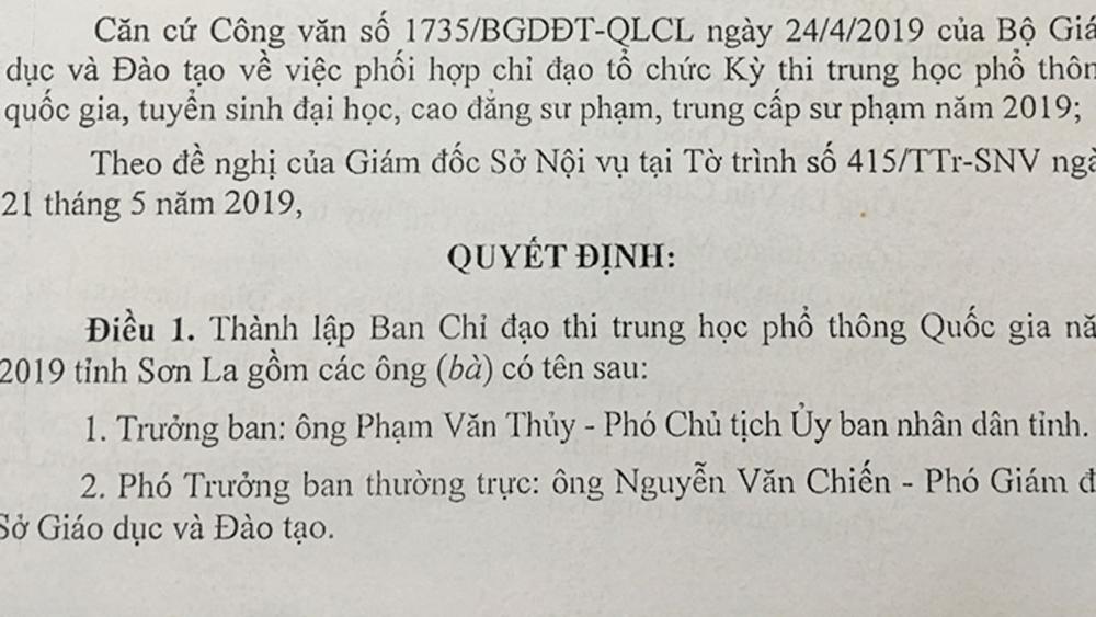 Ban chỉ đạo, thi THPT Quốc gia, Sơn La, gian lận thi cử,