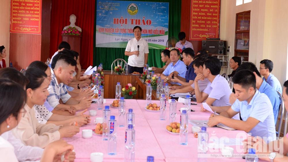 Hội thảo, chia sẻ kinh nghiệm, thôn nông thôn mới kiểu mẫu, xây dựng nông thôn mới, Hồng Giang, Lục Ngạn