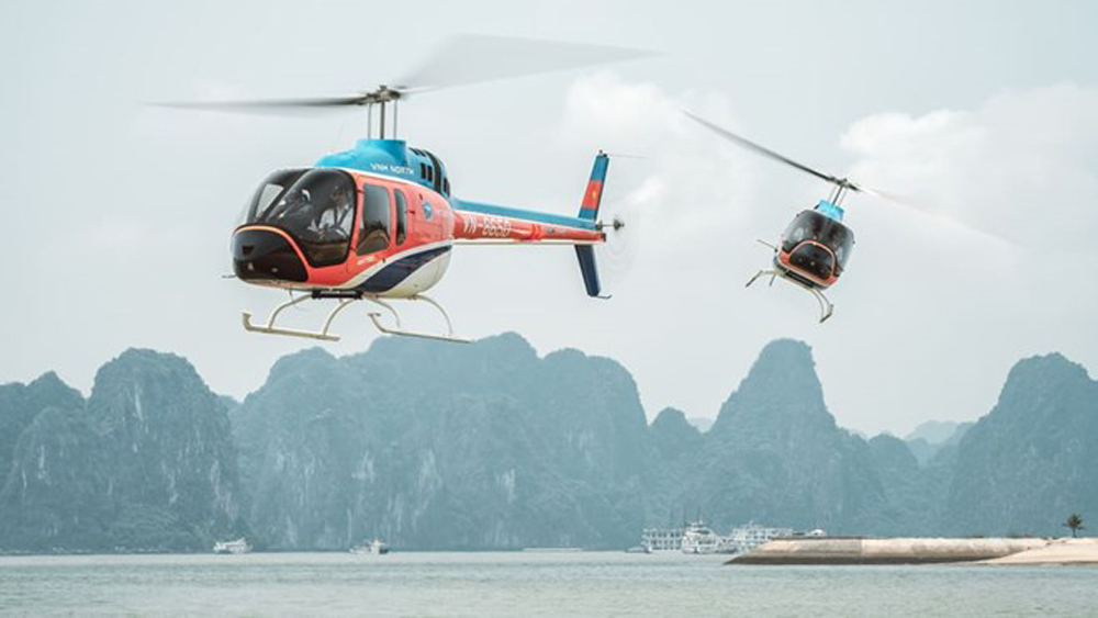 Helicopter – new way to cruise Ha Long Bay