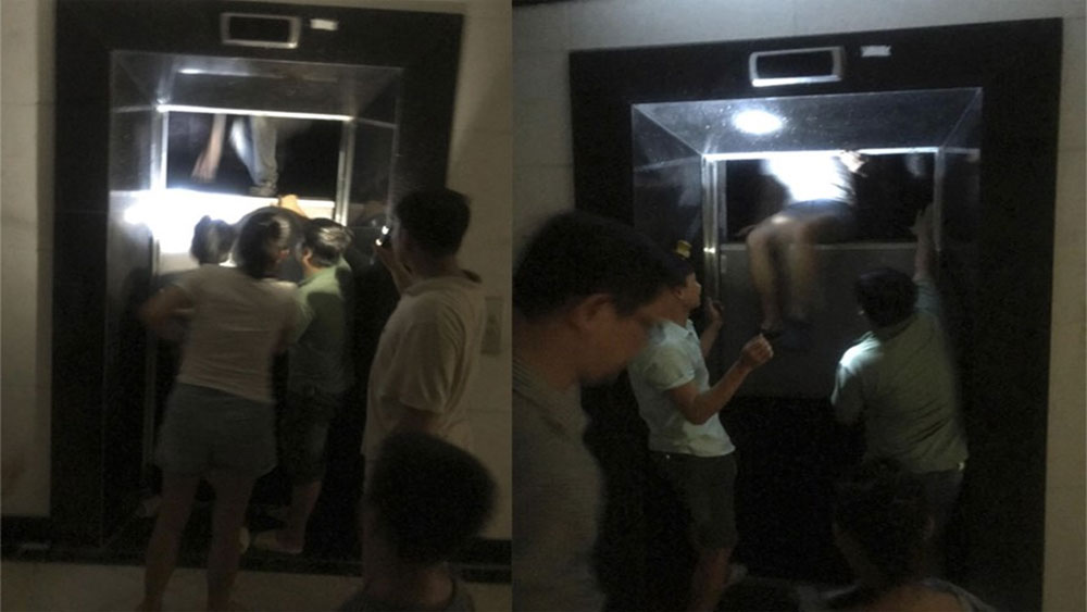 Cạy cửa thang máy, giải cứu nhiều người mắc kẹt, bên trong chung cư Hà Nội, chung cư Mỹ Sơn Tower