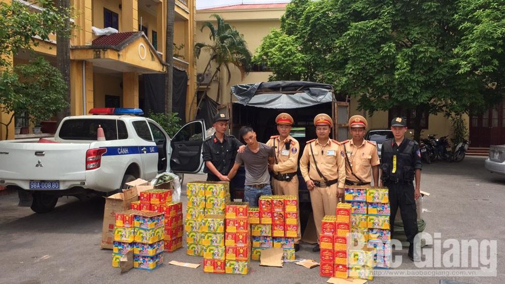 Vận chuyển pháo nổ trái phép, pháo nổ, Công an Bắc Giang, Cảnh sát giao thông Bắc Giang