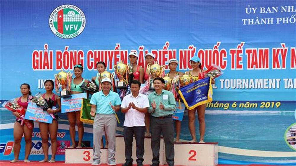 Tam Ky team, int'l tourney, women's beach volleyball, best player, Miss Beach Volleyball, round-robin format, cultural activities