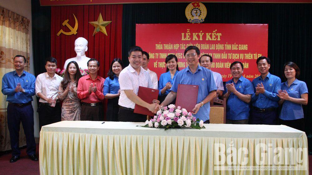 Ký kết chương trình phúc lợi đoàn viên, ký chương trình phối hợp, đoàn viên công đoàn, Liên đoàn lao động tỉnh Bắc Giang, phúc lợi