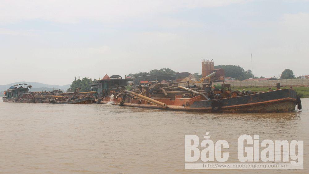 Khai thác cát trái phép trên sông Cầu; Khai thác cát trái phép, Cảnh sát giao thông đường thủy; Yên Dũng.