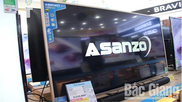 Các sản phẩm điện máy Asanzo vẫn bày bán trên thị trường Bắc Giang