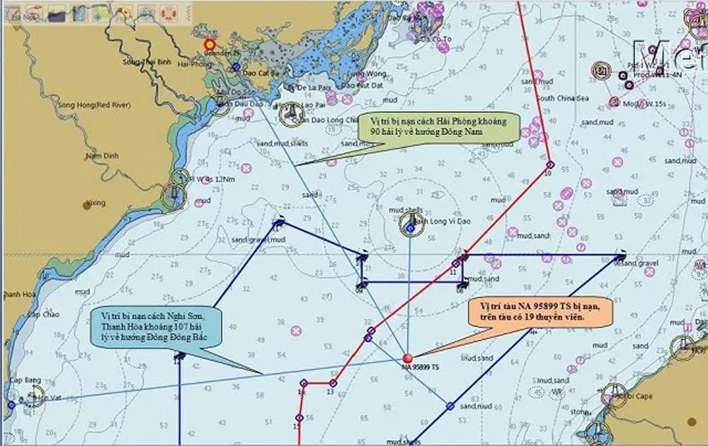 Va chạm, lật tàu NA 95899 TS, thuyền viên, mất tích