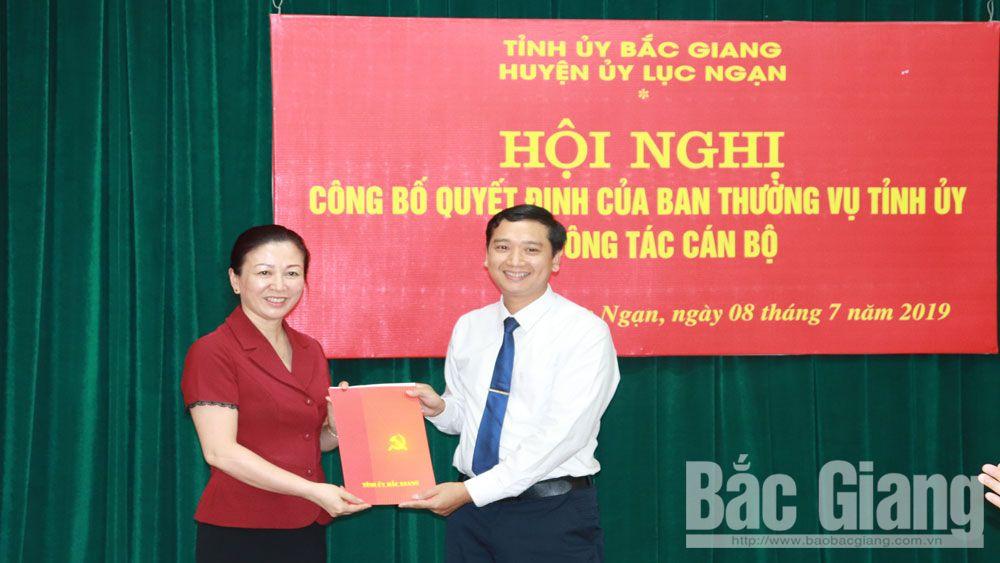 Đồng chí, Nguyễn Việt Oanh, bổ nhiệm, làm, Bí thư Huyện ủy, Lục Ngạn