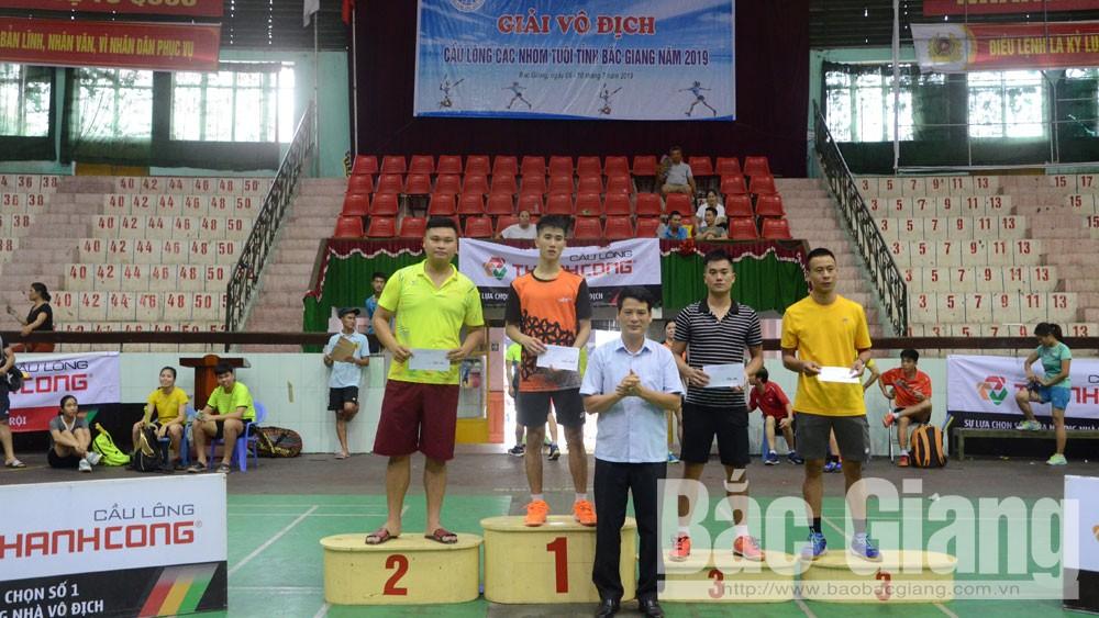 Cầu lông, TP Bắc Giang, nhất toàn đoàn, các nhóm tuổi, vô địch, thể thao.